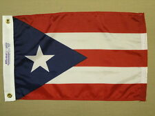 "Puerto Rico Indoor Outdoor Dyed Nylon Boat Flag Grommets 12"" X 18"""