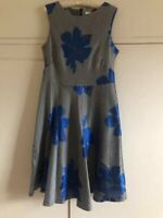 Fenn Wright Manson Floral Dress UK Size 16 Silver Grey  Women Ladies