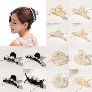 Women Vintage Barrette Pearl Rhinestone Hair Clip Ponytail Claw Hair Accessroies