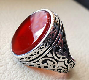 Carnelian Gemstone Solid 925 Sterling Silver Arabic Mens Ring Jewelry
