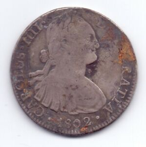 1802FT Spanish Silver 8 Reales Coin Mexico City Mint Mark Spain 26.7g Real