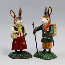 9937337-ds Eisen Figur Osterhasen Paar farbig H23cm