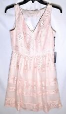 ADRIANNA PAPELL Embroidered Lace Fit & Flare Dress (Size 2) Pink Sand >NEW<