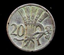 Coins 1921 Czechoslovakia 20 Haler #1017