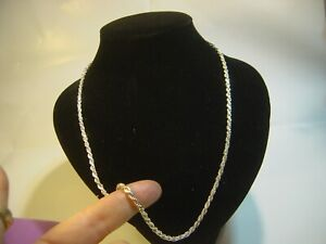 """SOLID SILVER 24"""" VINTAGE """"SOLID"""" ROPE NECKLACE SUPERB QUALITY-VERY HEAVY LOVLEY"""