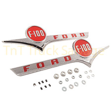 New 1956 56 Ford F100 F-100 Truck Hood Chrome Side Emblem Pair Red Paint