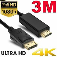 3m Displayport DP Male to HDMI Male Cable HD 1080P High Speed Display Port Lead