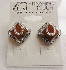 NEW Carnelian Burnt Orange with Swarovski Crystals Horse Shoe Earrings