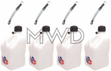 4 Pk White VP 5 Gallon Racing Fuel Jug/Gas Can containers & 4 Deluxe Hoses IMCA