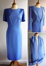 CONDICI SET Blue 3pc Mother of the Bride Suit Dress Long Jacket Scarf Size 14