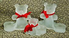 "Trio Frosted Glass Teddy Bear 5"" Figurine Candle Holder Set Mama Papa Baby Az"
