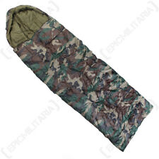 Comforter Sleeping Bag - Woodland Camo - Army Camping Adult Single Hood New