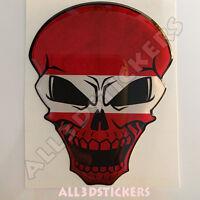 Pegatina Calavera Bandera Letonia Adhesivo Relieve Coche Moto Skull 3D