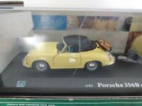 Porsche 356B Soft Top 1/43 scale with passengers and caravan