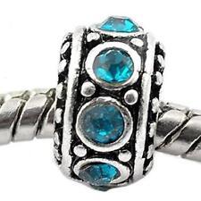 Birthstone Spacer Bead Charm (December Blue Zircon)