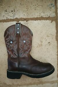 Brown Leather ARIAT 16720 Probaby Western Style Pull On Boots BLue Stars 6 B