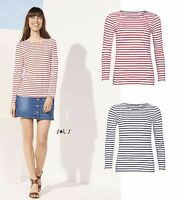 SOL'S Ladies Marine Long Sleeve Stripe T-Shirt Red White Blue White French Brand