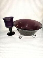 Georgeous Designs-Antique Purple Glass Bowl And Candle Holder Set With Sticker