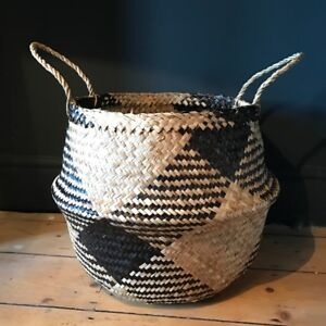 Large Brown Natural Seagrass Belly Basket Cross Zig Zag Straw Planter Laundry