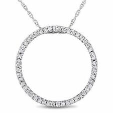 "10k White Gold 1/4 Ct Diamond Circle Pendant necklace I-J I2-I3 17"" Chain"