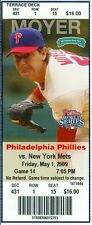 2009 Phillies vs Mets Ticket: Daniel Murphy & Chase Utley HRs
