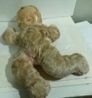 "Knickerbocker Sleepy doll vintage rubber face cloth body 17"" long"