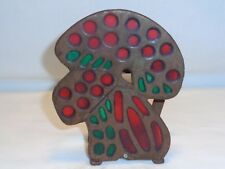Vtg Rustic Metal Mushroom Napkin Letter Holder Primitive Kitchen Table Art Decor