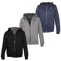 Kangol Mens Jackets Quilted Fleece Designer Faux Fur Lined Hoodies Winter Coat