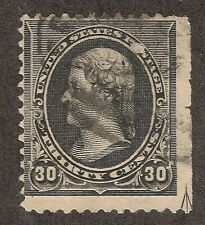 US #228 (1887) 30c Used - Fine - EFO: Guide Line Arrow Lower Right Corner 1/200