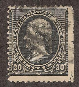 US #228 (1887) 30c Used - Fine - EFO: Guide Line Arrow Lower Right Corner 1/200