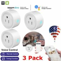 3PCS Smart Mini WiFi Plug Outlet Switch Work With Echo Alexa Google Home Remote