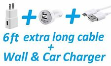 6Ft Long USB Cable + Wall Home Car Charger For Samsung Galaxy S3 S4 S6 S7 Edge +