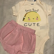 Old Navy Taco Bout Cute Short Sleeve Bodysuit & Carter's Baby Bloomers 6-12 Mos