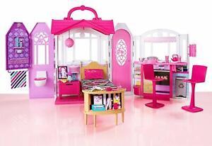 Barbie Glam Ferienhaus Mattel Puppenhaus 3 Zimmer + Zubehör + Tragegriff NEU OVP