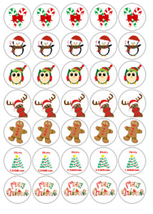 Christmas Mixed labels, sweet bags, School  parties or gifts 37mm x 35 stickers