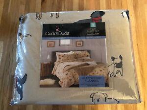 NWT $50 Cuddl Duds Twin 3 Piece Sheet Set Playful Pups/Puppy Dogs Warm & Soft