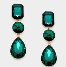 "3"" Green Emerald Gold Long Rhinestone Crystal Pageant Dangle Earrings Formal"