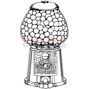 Deep Red Stamps Gumball Machine Rubber Cling Stamp