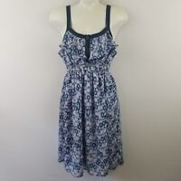 I Love Ronson Womens Dress XS Blue Floral Smocked Zip Empire Waist Thick Straps