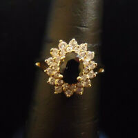 (RI5) 14K Yellow Gold Sapphire Ring with 14 Diamonds .14CTW - 3.5g - Size 7.25