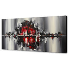 RED BLACK URBAN CITY ABSTRACT DESIGN BOX CANVAS PRINT WALL ART PICTURE
