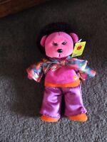 BEANIE KIDS......FRIZZ the AFRO bear.....BK... yellow TAG ! YELLOW BUTTON