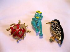 """""""3 PINS-FROG/BIRD/BEETLE"""" ALL NEW, NEVER WORN-ADORABLE  COLLECTION-GREAT PRICE!"""