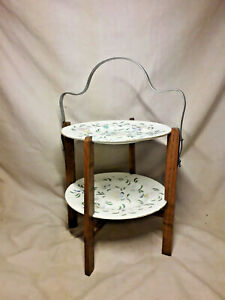 Vintage Wooden Cake Plate stand with Two Coalport Plates