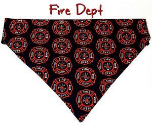 Fire Dept Dog Bandana, Over the Collar dog bandana, Dog collar bandana Fireman