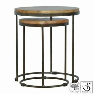 Round Nest of Tables Set of 2 with Iron Base