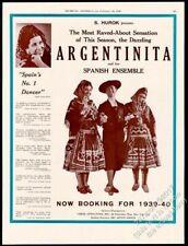 1939 La Argentinita photo dance tour booking vintage trade print ad