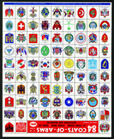 Worldwide Stamps 1961 Collection of 88 Flags & 84 Coats of Arms