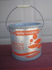 Old Pal/Woodstream Galvanized Floating Minnow Bucket 24G10 With Wood Bail Handle