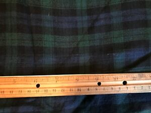 "Wool blend fabric 42"" x 3 yards, Tartan Watch Plaid Blue/Green/Black"